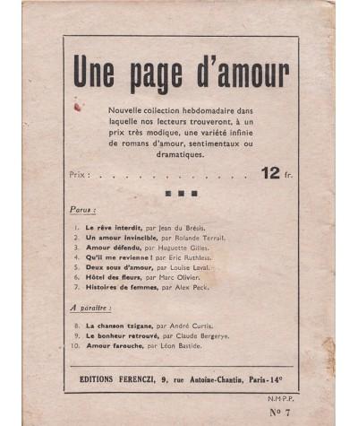 Histoires de femmes (Alex Peck) - Ferenczi, Une page d'amour N° 7