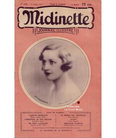 Journal illustré Midinette n° 218 du 16 janvier 1931 - Melle Perdrière en couverture