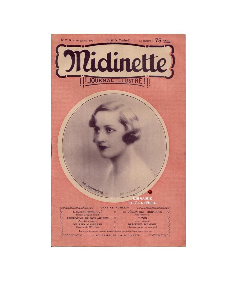 Midinette n° 218 du 16 janvier 1931 - Melle Perdrière en couverture