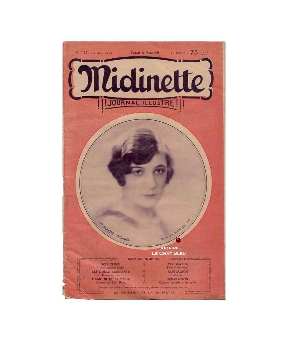 Midinette n° 177 du 4 avril 1930 - Melle Paulette Marinier en couverture