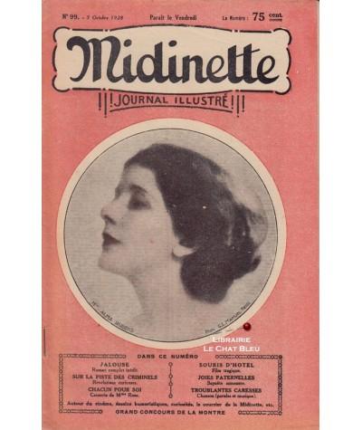 Journal illustré Midinette n° 99 du 5 octobre 1928 - Melle Alma Rubens en couverture