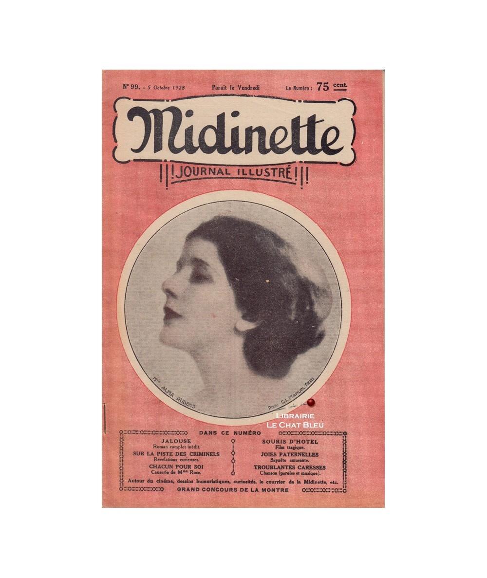 Midinette n° 99 du 5 octobre 1928 - Melle Alma Rubens en couverture