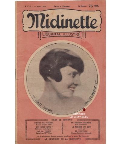 Journal illustré Midinette n° 120 du 1er mars 1929 - Melle Edmée Favart en couverture