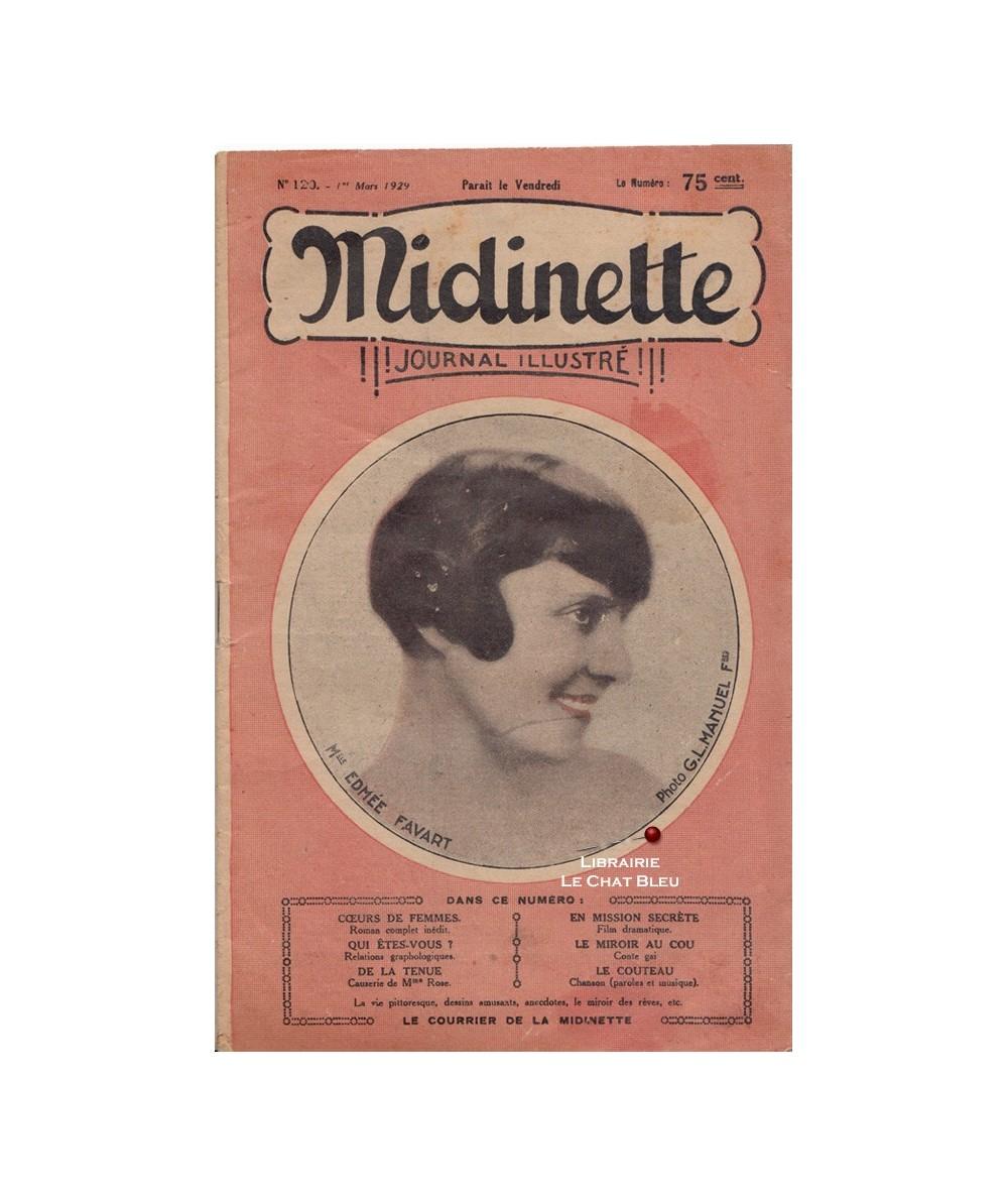 Midinette n° 120 du 1er mars 1929 - Melle Edmée Favart en couverture