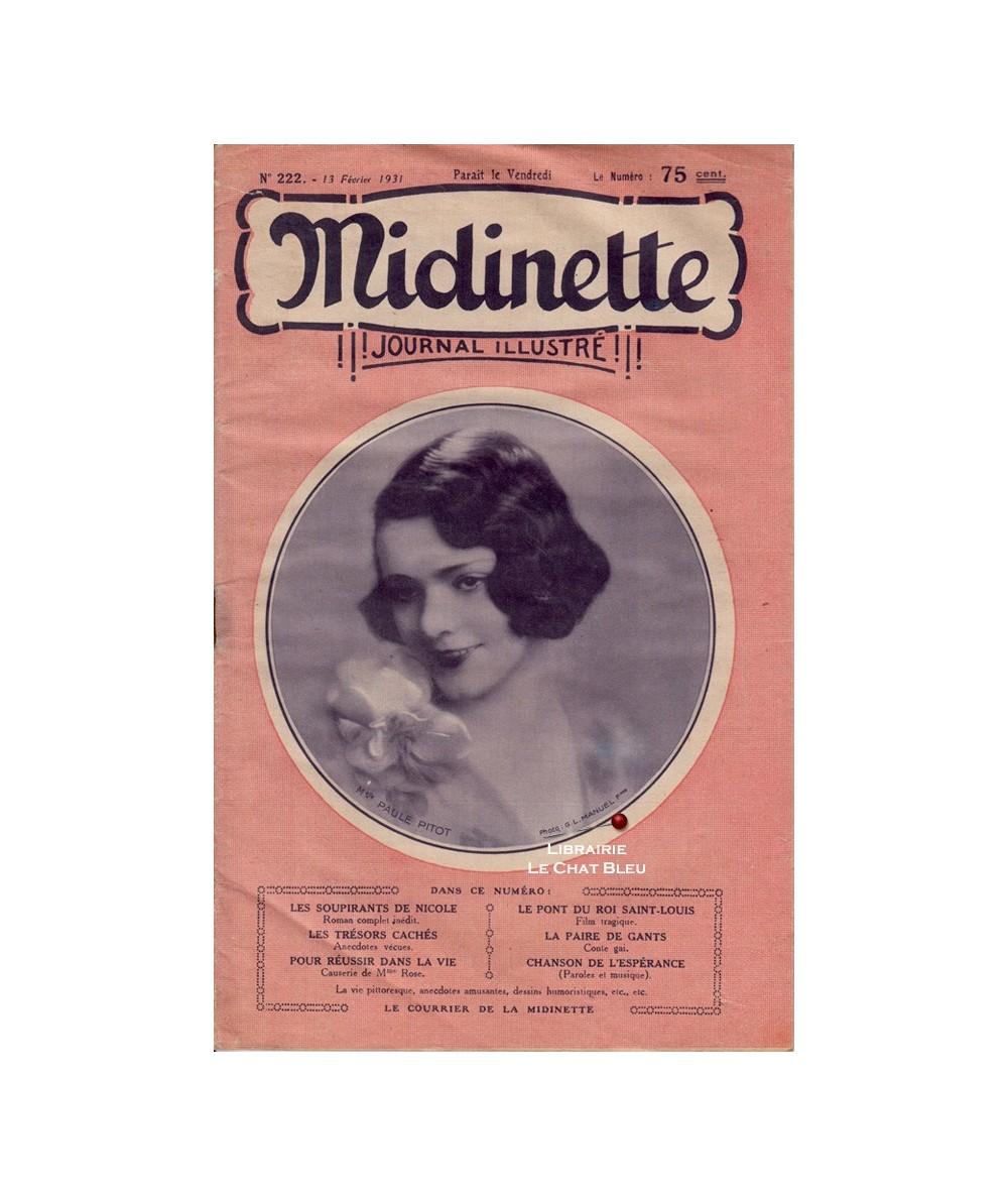 Midinette n° 222 du 13 février 1931 - Melle Paul Pitot en couverture