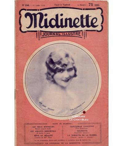 Journal illustré Midinette n° 296 du 15 juillet 1932 - Melle Jane Marny en couverture