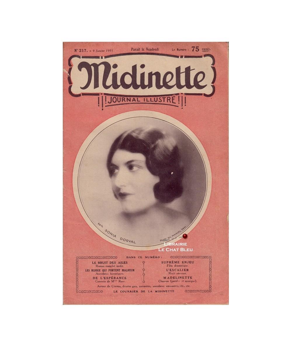 Midinette n° 217 du 9 janvier 1931 - Melle Sonia DORVAL en couverture