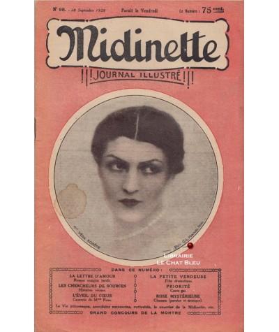 Journal illustré Midinette n° 98 du 28 septembre 1928 - Melle Véra Korêne en couverture