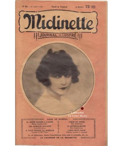 Journal illustré Midinette n° 88 du 20 juillet 1928 - Melle G. Maddie en couverture