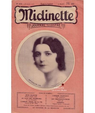 Journal illustré Midinette n° 219 du 23 janvier 1931 - Melle Evelyn Lys en couverture