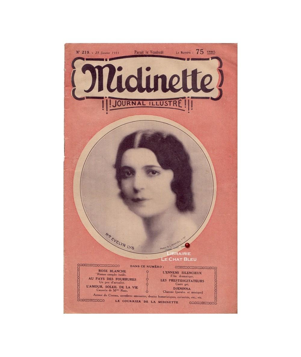 Midinette n° 219 du 23 janvier 1931 - Melle Evelyn Lys en couverture