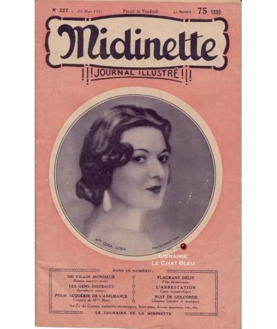 Journal illustré Midinette n° 227 du 20 mars 1931 - Melle Cora Lynn en couverture