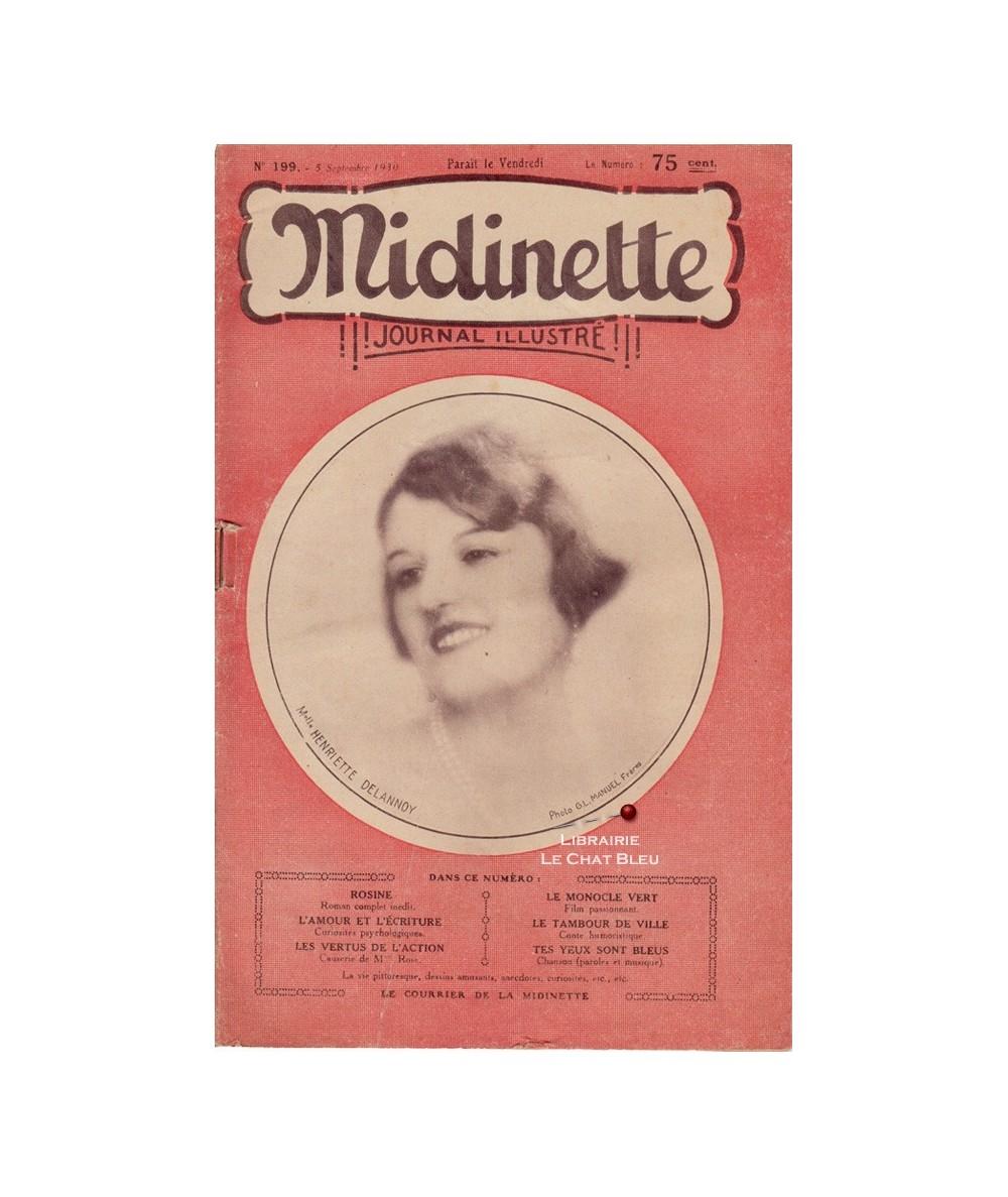 Midinette n° 199 du 5 septembre 1930 - Melle Henriette Delannoy en couverture