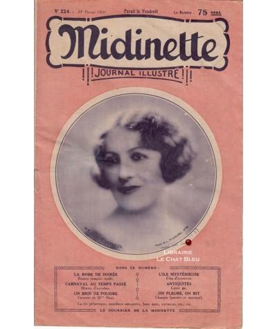 Journal illustré Midinette n° 224 du 27 février 1931 - Melle Juliette Verneuil en couverture