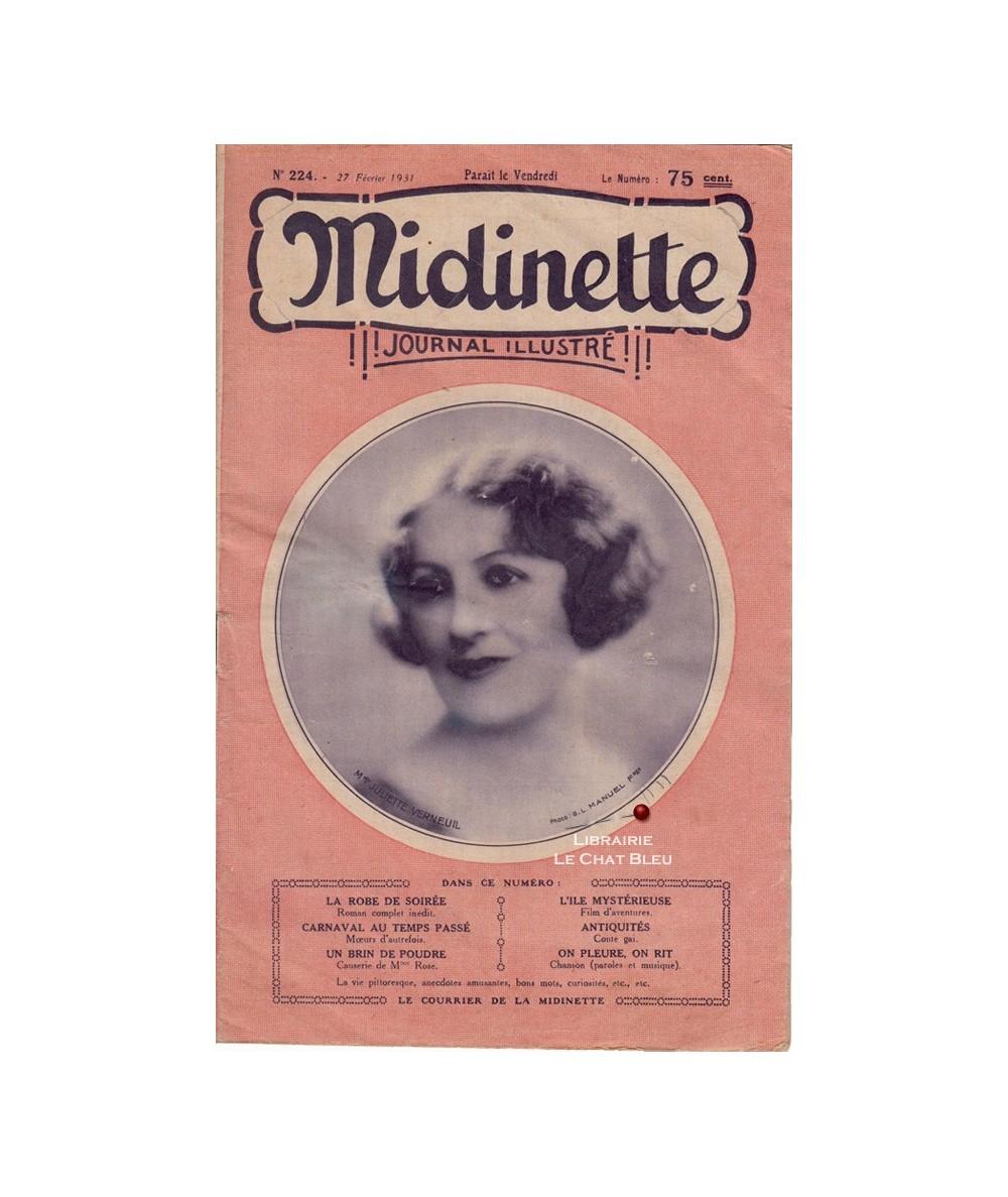 Midinette n° 224 du 27 février 1931 - Melle Juliette Verneuil en couverture