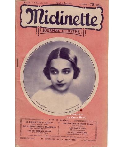 Journal illustré Midinette n° 251 du 4 septembre 1931 - Melle Colette Adam en couverture