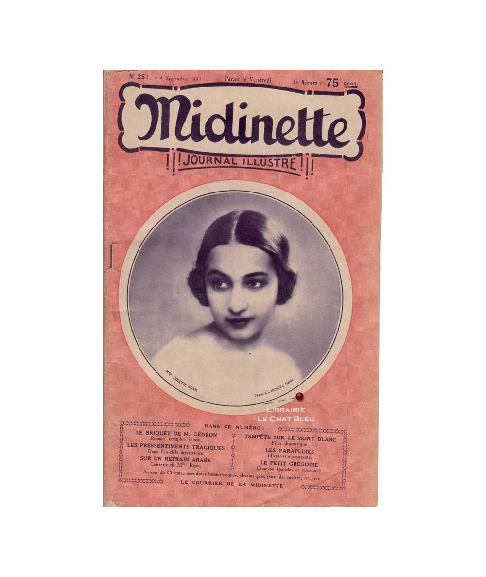 Midinette n° 251 du 4 septembre 1931 - Melle Colette Adam en couverture