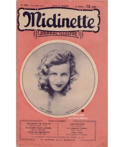 Journal illustré Midinette n° 258 du 23 octobre 1931 - Melle Lilian Harvey en couverture