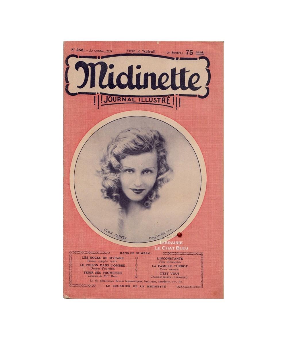 Midinette n° 258 du 23 octobre 1931 - Melle Lilian Harvey en couverture