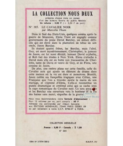 Le cavalier noir (Marcella Thum) - Roman Nous Deux N° 385