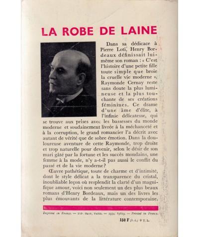 La robe de laine (Henry Bordeaux) - Bibliothèque Plon N° 42