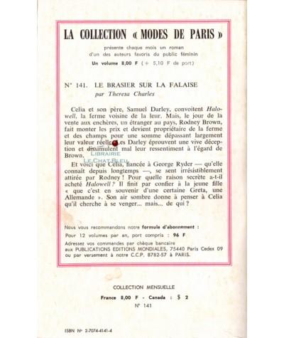 Le brasier sur la falaise (Teresa Charles) - Modes de Paris N° 141 - Résumé
