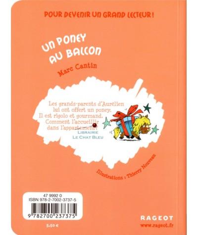 Un poney au balcon (Marc Cantin) - Petit Roman - Editions Rageot