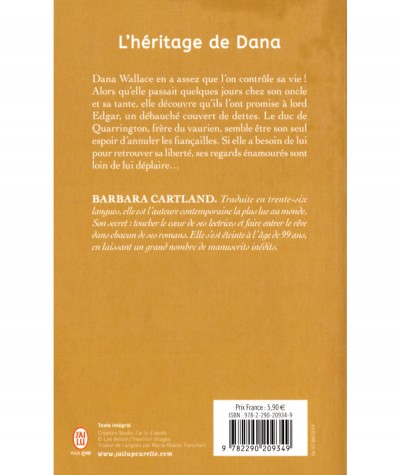 L'héritage de Dana (Barbara Cartland) - J'ai lu N° 6903