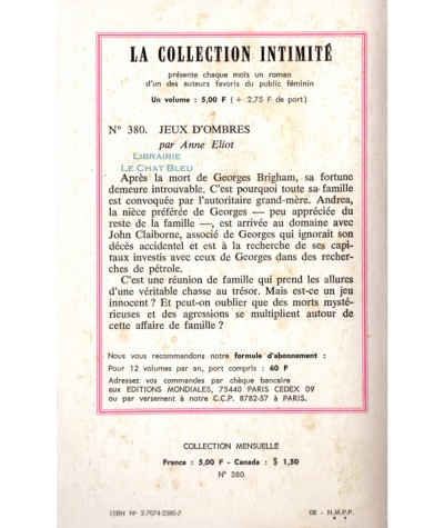 Jeux d'ombres (Anne Eliot) - Intimité N° 380 - Les Editions Mondiales