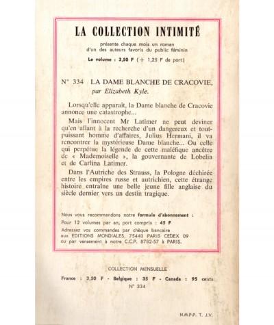 La Dame blanche de Cracovie (Elizabeth Kyle) - Intimité N° 334 - Les Editions Mondiales
