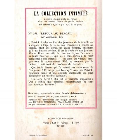 Retour au bercail (Josephine Tey) - Intimité N° 398 - Les Editions Mondiales