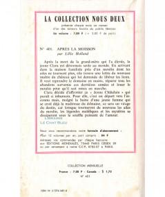 Après la moisson (Lillie Holland) - Nous Deux N° 401 - Les Editions Mondiales