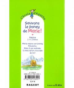 L'école d'Agathe T28 : Sauvons le poney de Marie ! (Pakita) - Editions Rageot